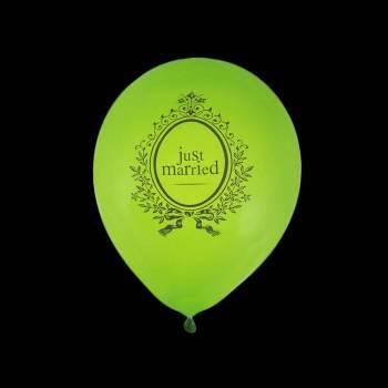 8 Ballons Just Married vert