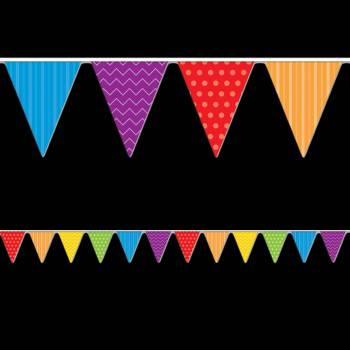 Guirlande de fanions multicolore rayures et pois