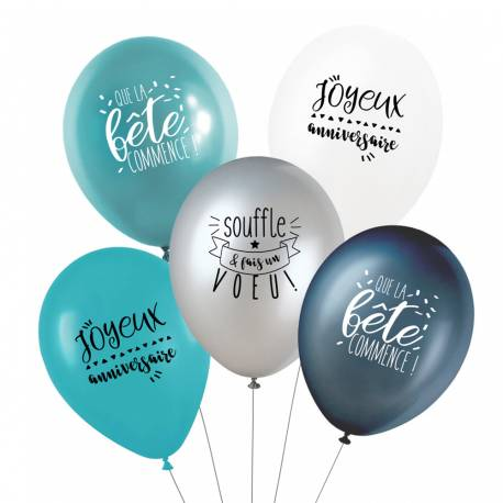 Ce lot de 5 ballons comprend : - 1 ballon blanc opaque + 1 ballon turquoise opaque