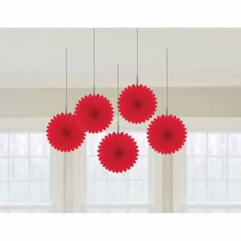 5 décors à suspendres éventail rouge