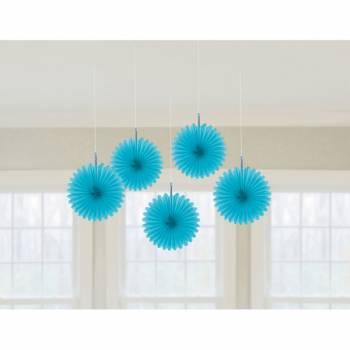 5 décors à suspendres éventail turquoise