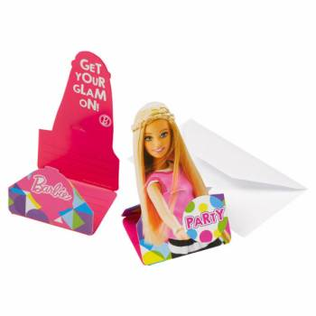 8 Cartes invitations Barbie Pop