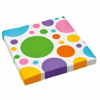 Serviettes jetables papier pois multicolores