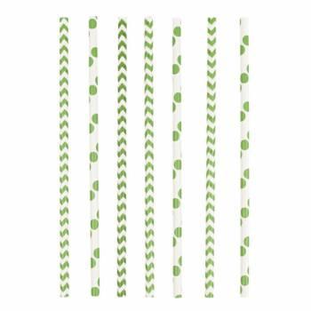 24 Pailles papier chevrons et pois vert