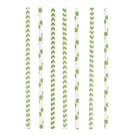24 Pailles en papier chevrons et pois vert Dimension: 19.5 cm