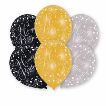 6 Ballons de fête Noir Or Argent Happy Birthday