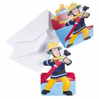 Lot 8 Invitations 3D & Enveloppes Sam le Pompier
