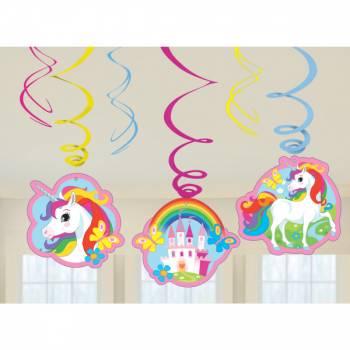 6 Suspensions Licorne rainbow