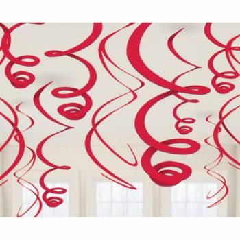 12 décors à suspendres tourbillons rouge