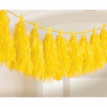 Pompons frange jaune