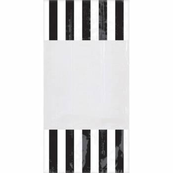 10 sacs à confiseries rayures noires