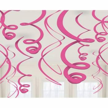 12 décors à suspendres tourbillons fuchsia
