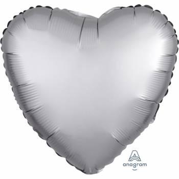 Ballon hélium satin luxe platinium coeur