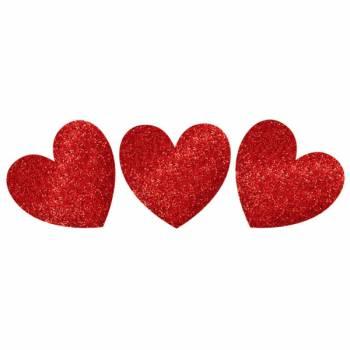 20 décors coeur rouge à paillette