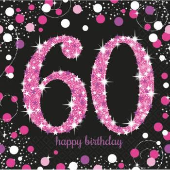 16 Serviettes Pétillante pink 60ans
