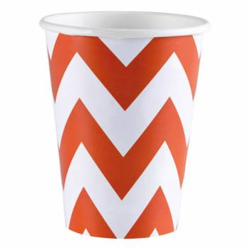 Gobelets carton chevrons orange