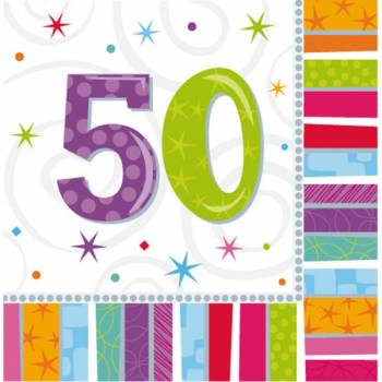 16 Serviettes 50 ans Colorstars