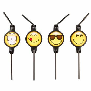 8 Pailles de fête smiley emoticon