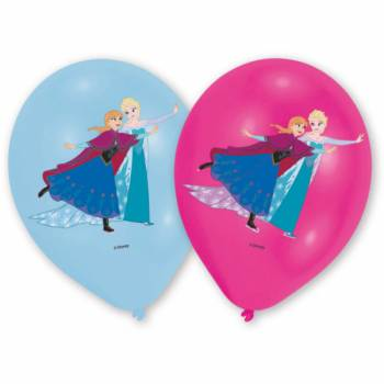 6 Ballons latex La Reine des Neiges quadri