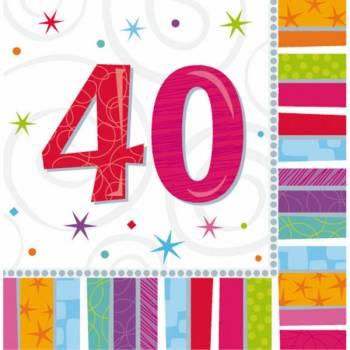 16 Serviettes 40 ans Colorstars