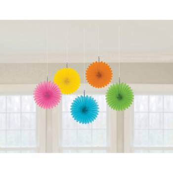 5 décors à suspendre éventail multicolore