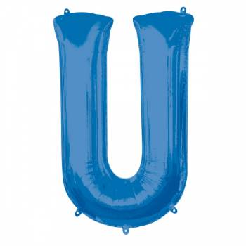 Mega Ballon Hélium lettre U bleu