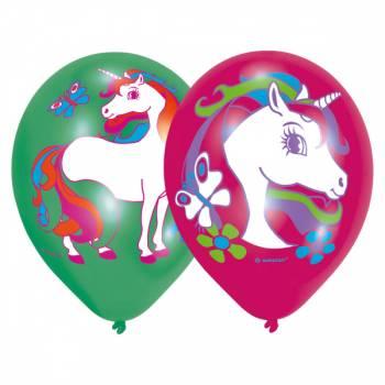 6 Ballons quadri Licorne rainbow