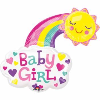 Ballon hélium géant Arc en ciel Baby girl