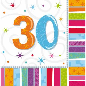 16 Serviettes 30 ans Colorstars