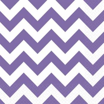 Serviettes jetables papier chevrons violette