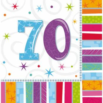 16 Serviettes 70 ans Colorstars