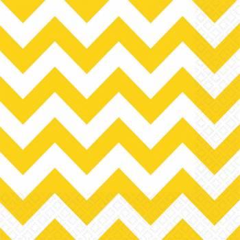 Serviettes jetables papier chevrons jaune