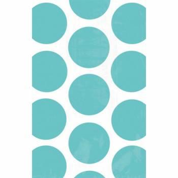 10 sacs en papier pois turquoises