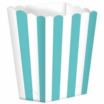 5 Boîtes Pop corn rayures turquoises