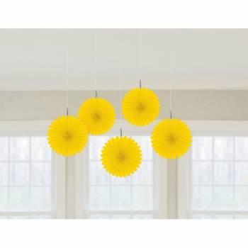 5 décors à suspendres éventail jaune