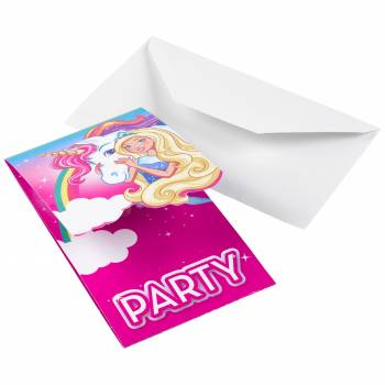 8 Invitations Barbie licorne