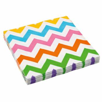 Serviettes jetables papier chevrons multicolore