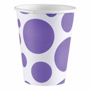 Gobelets carton pois violet