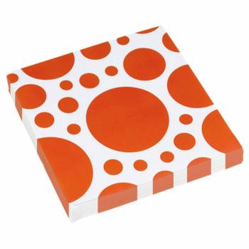 Serviettes jetables papier pois orange
