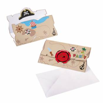 8 Invitations carte pirate