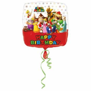 Ballon hélium carrée Mario Bros Birthday