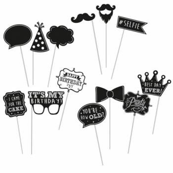 13 accessoires photobooth Happy Birthday ardoise