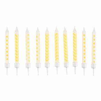 10 Bougies avec bobêches chevrons et pois jaune