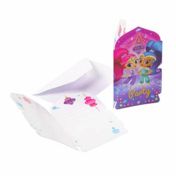 8 Invitations et enveloppes Shimmer et Shine