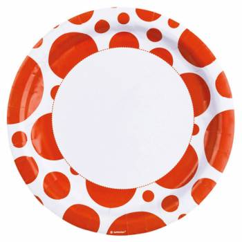 Assiettes jetables pois orange