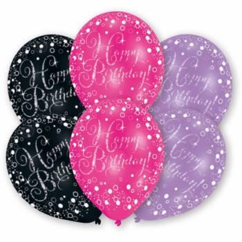 6 Ballons de fête Noir parme fuchsia Happy Birthday