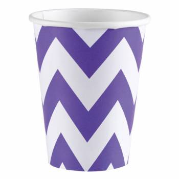 Gobelets carton chevrons violet