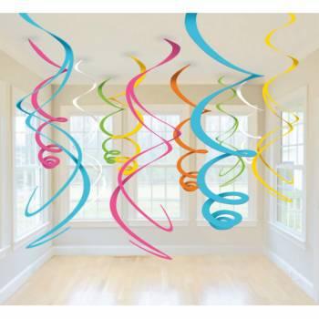 12 décors à suspendre tourbillons multicolore