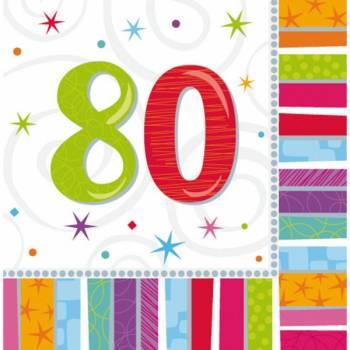 16 Serviettes 80 ans Colorstars
