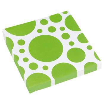 Serviettes jetables papier pois verte